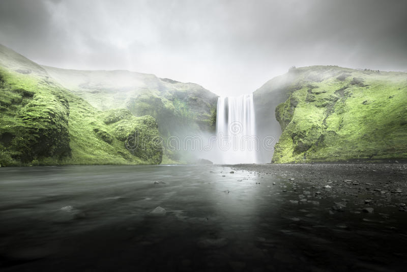 Skogafoss waterfall, Iceland. Skogafoss waterfall On a cloudy and rainy day, Iceland royalty free stock photography