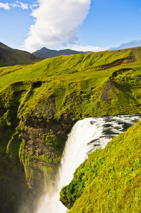 Skogafoss waterfall more than 200 feets high is the highest waterfall in Iceland royalty free stock photography