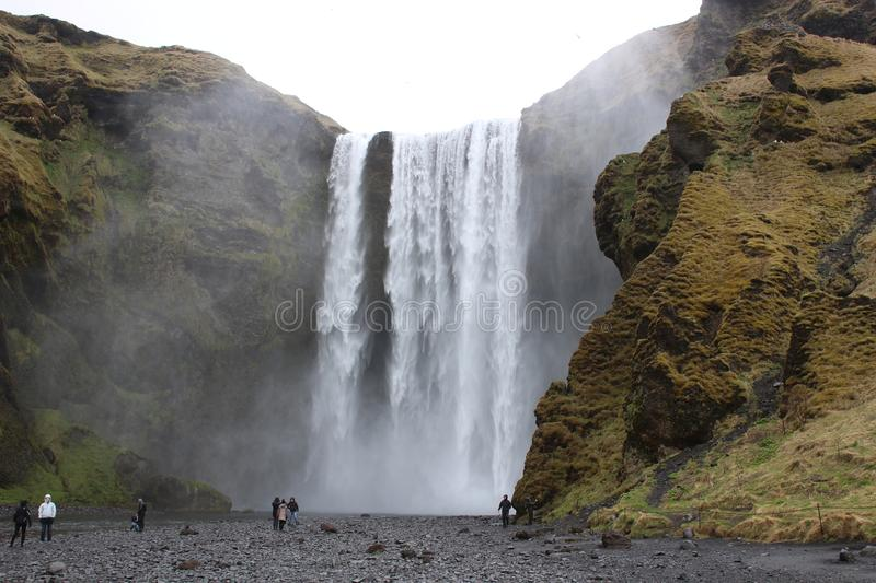 Skogafoss waterfall. Natural tourist attraction of Iceland. winter landscape on a sunny day. Amazing in nature stock photography