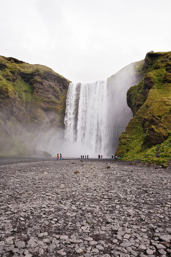Skogafoss waterfall in the summer, Iceland stock photography