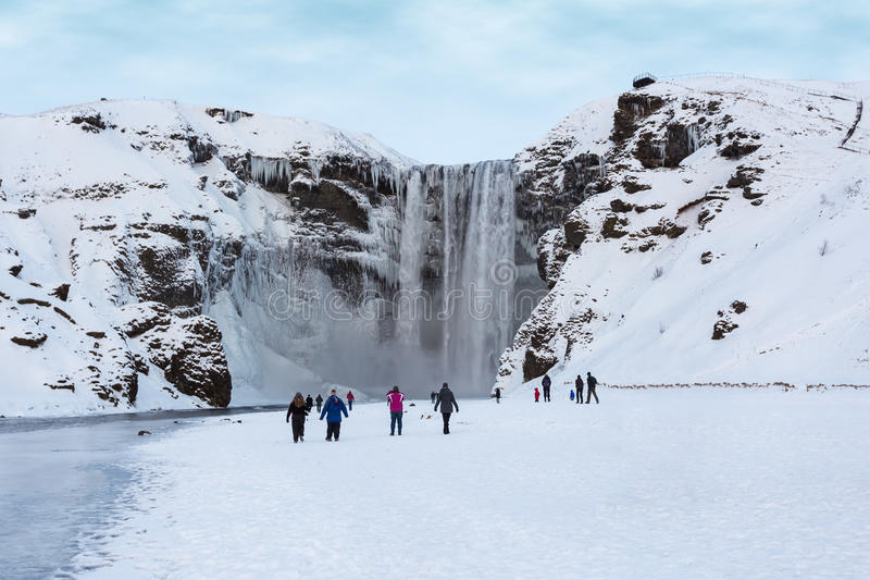 skogar νότιος καταρράκτης της Ισλανδίας skogafoss στοκ εικόνες