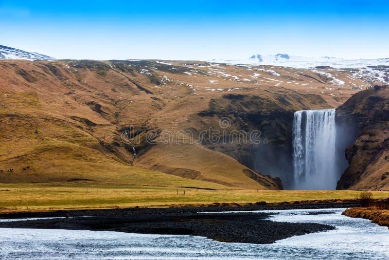 Skogar один из самых красивых водопадов на Исландии стоковые фотографии rf