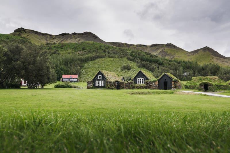 SKOGAR ISLAND - AUGUSTI 2018: Traditionella isländska torvahus med grästaket i museet Skogar för öppen luft, Island arkivfoto