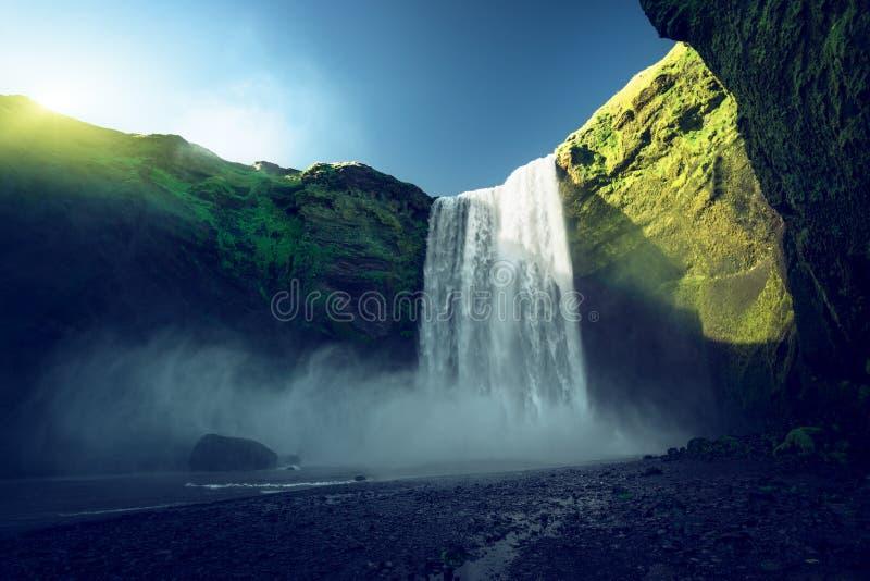 Skogarfoss waterfall and summer sunny day royalty free stock photos