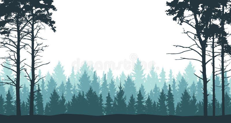 Skogbakgrund, landskap, natur Pine, julträd, gran Evergreen barrträd stock illustrationer