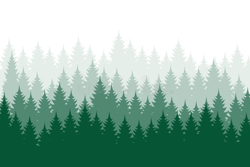 Skogbakgrund, natur, landskap Vintergr?na barrtr?d Sörja prydligt, julträdet Konturvektor royaltyfri illustrationer