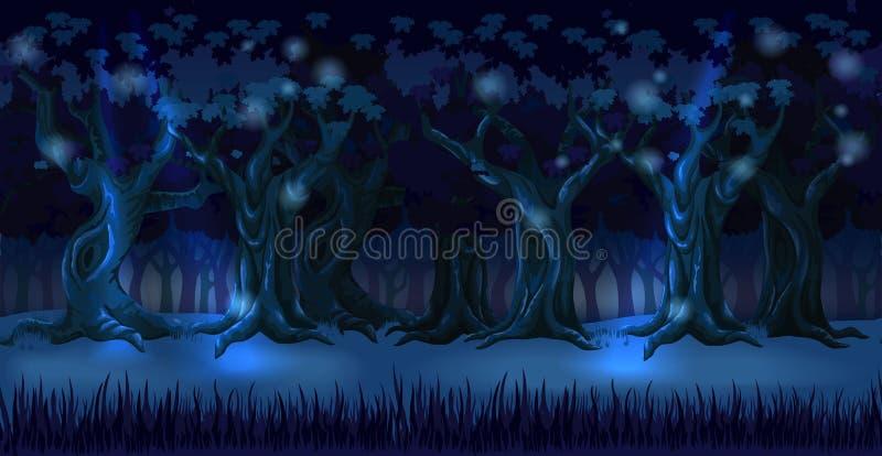 Skogbakgrundspanorama på den mörka natten royaltyfri illustrationer