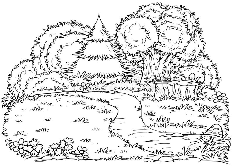 Skogbana royaltyfri illustrationer