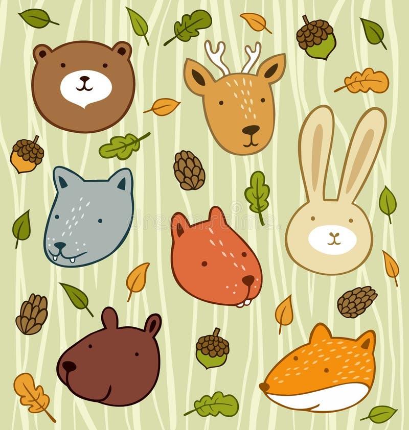 Skogdjur stock illustrationer