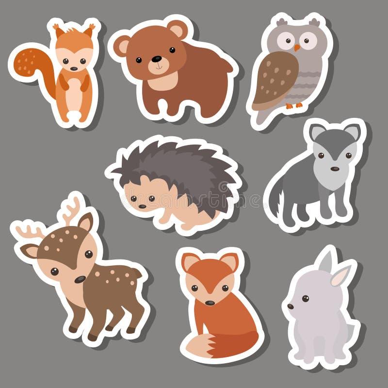 Skogdjurklistermärkear royaltyfri illustrationer