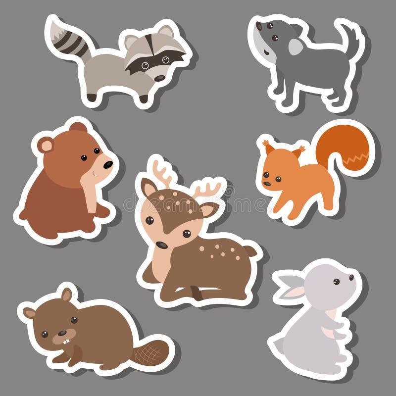 Skogdjurklistermärkear stock illustrationer