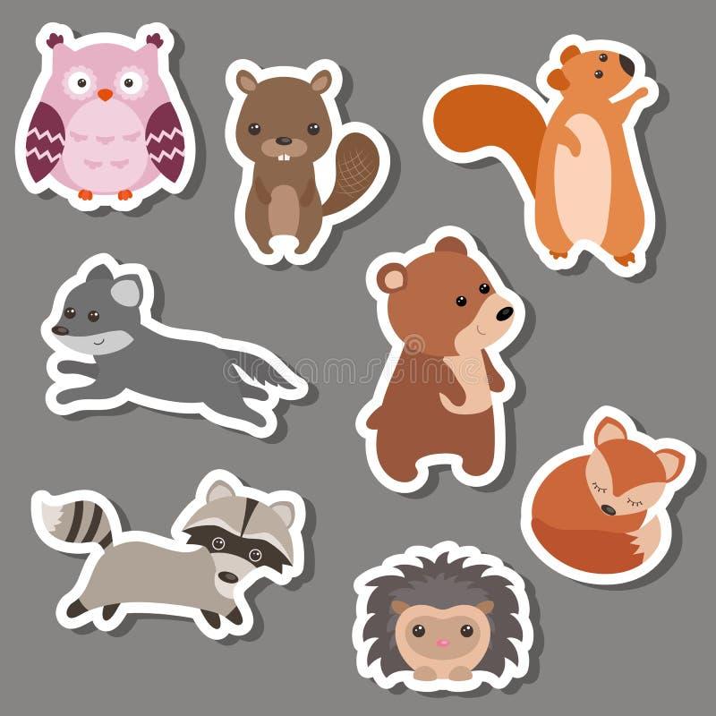 Skogdjurklistermärkear vektor illustrationer