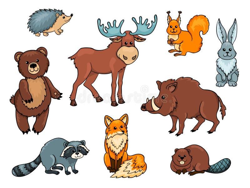 Skogdjuruppsättning stock illustrationer