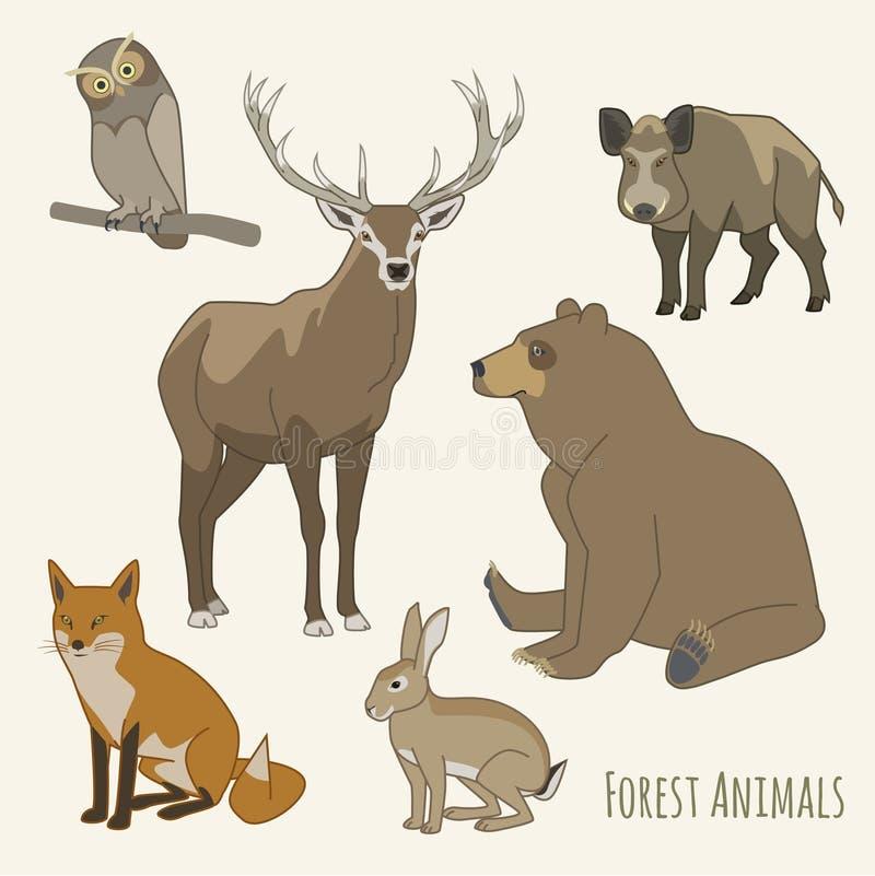 Skogdjuruppsättning royaltyfri illustrationer
