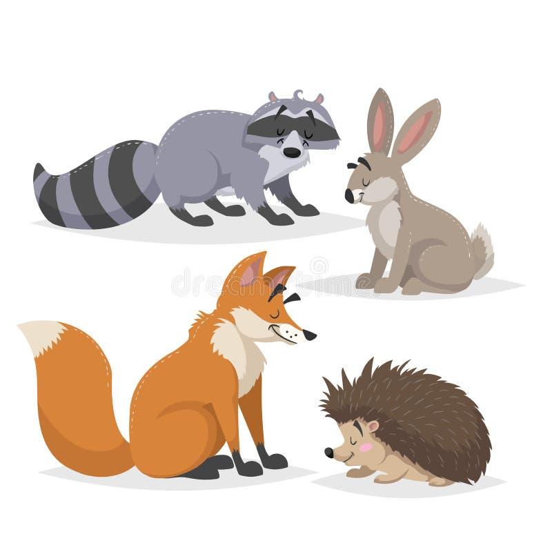 Skogdjuruppsättning Tvättbjörn, hare, igelkott och röd räv Lyckligt le och gladlynta tecken Vektorzooillustrationer royaltyfri illustrationer