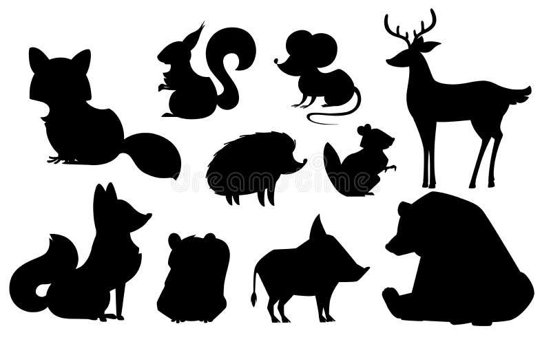 Skogdjurupps?ttning Djur symbolssamling för svart kontur Rov- och v?xt?tande d?ggdjur Plan isolerad vektorillustration royaltyfri illustrationer
