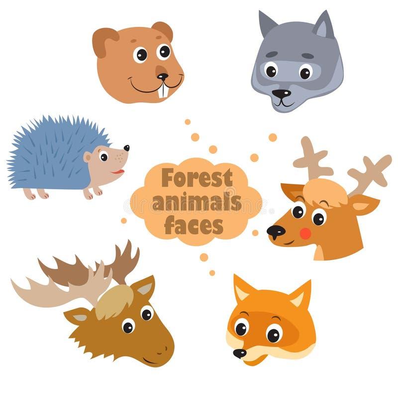 Skogdjurvektor Djur av skogdjuren i för royaltyfri illustrationer