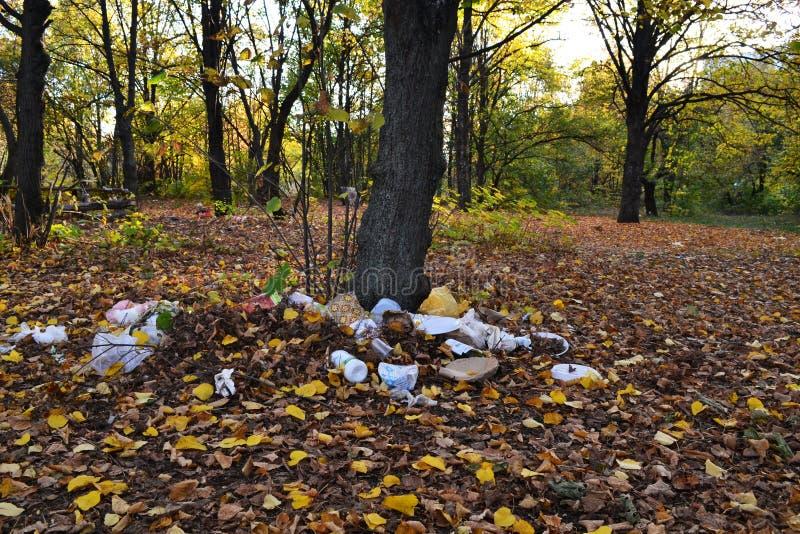 Skogförorening med plast--, polyetylen- och metallavskräde arkivfoto