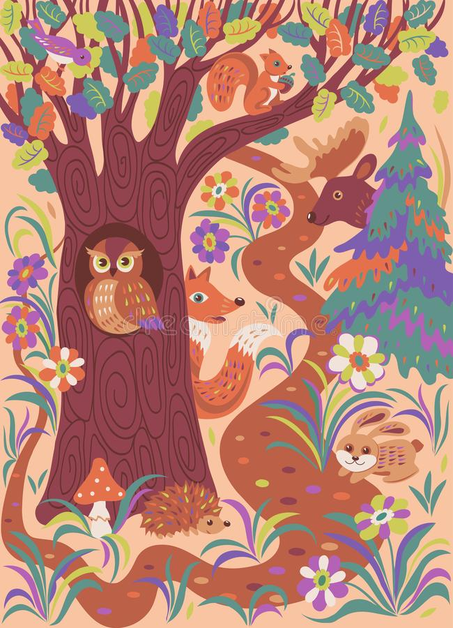 Skogfolkdjur vektor illustrationer
