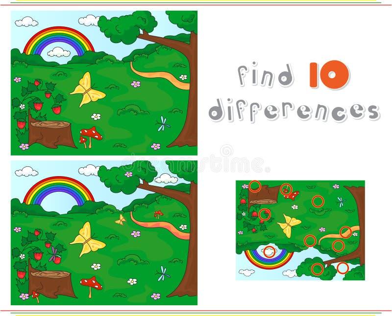 Skogglänta med en stump, jordgubbar, fjäril, träd, rainbo stock illustrationer