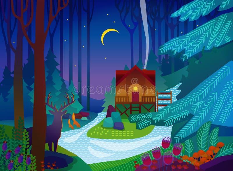 Skogglänta med huset på natten vektor illustrationer