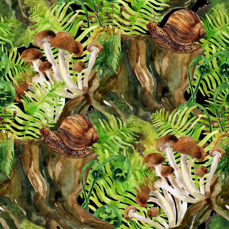 Skogherbagebakgrund Sömlös modell för trän och för växter stock illustrationer