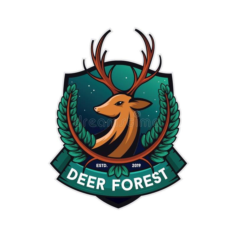 Skoghjortillustration, vit bakgrund vektor illustrationer