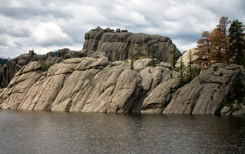 Skogig sjö i Black Hills av South Dakota arkivbild