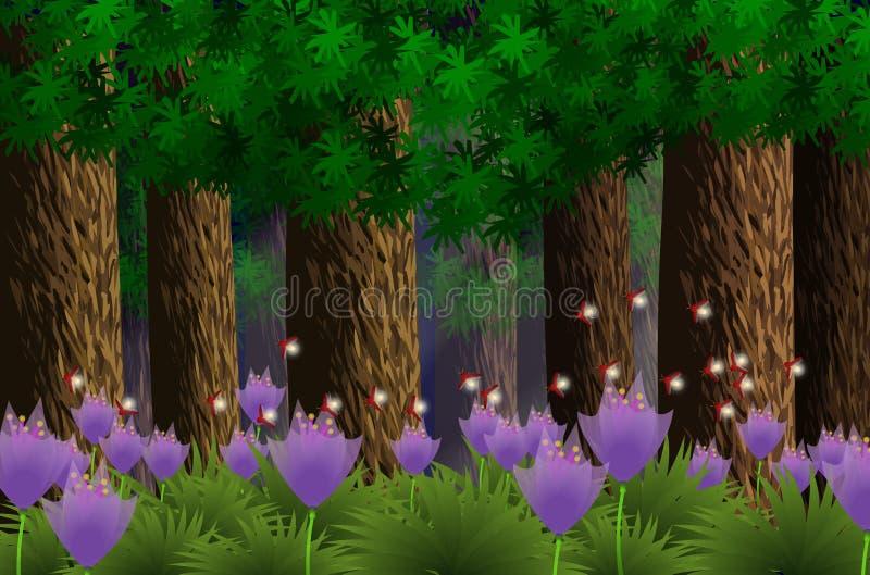 skogillustratörmånsken under vektor illustrationer