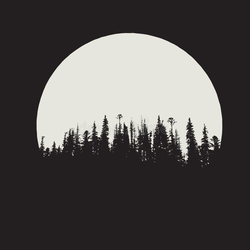 Skogkontur på månebakgrund royaltyfri illustrationer