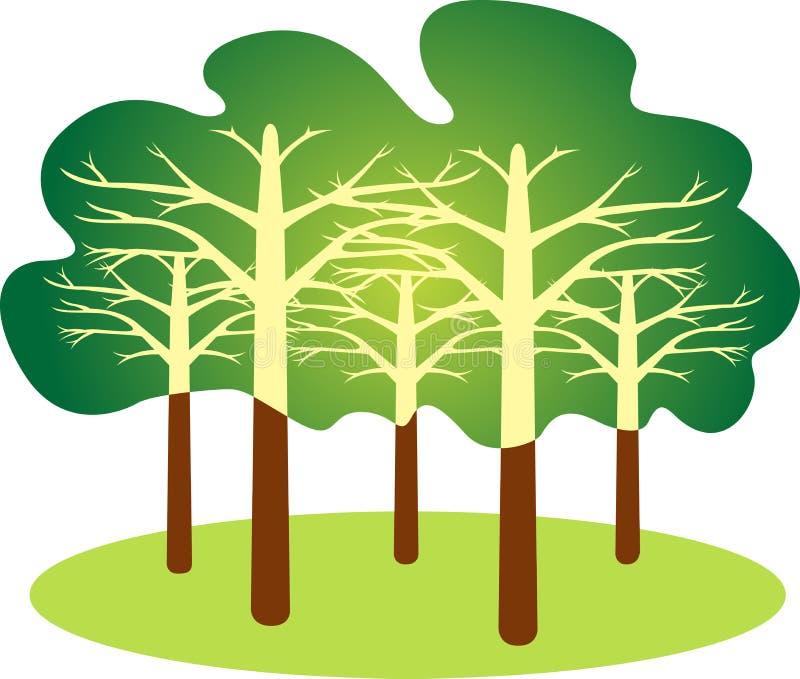 skoglogo vektor illustrationer