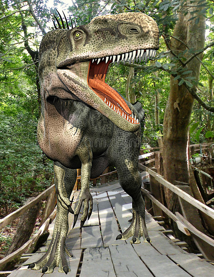 skogmonolophosaurus stock illustrationer
