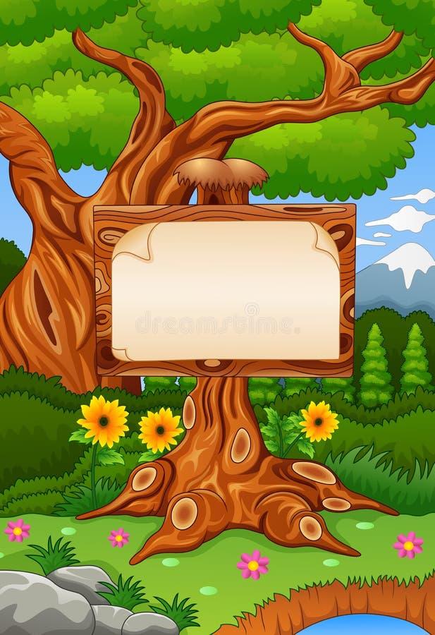 Skogplats med träsignbord royaltyfri illustrationer