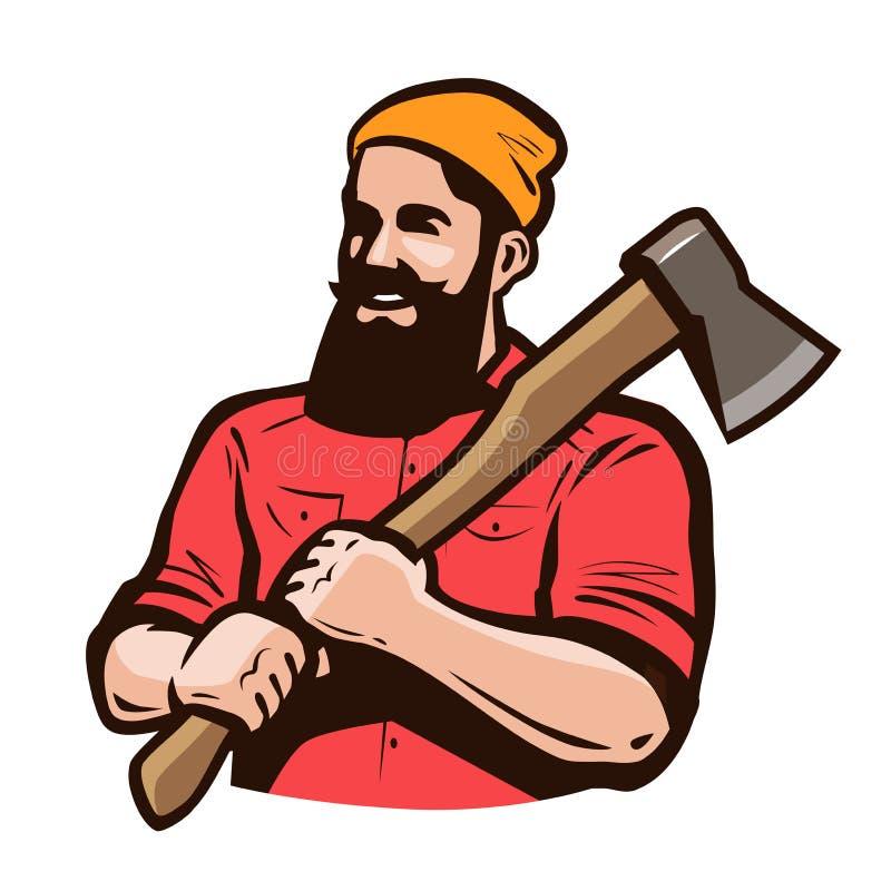 Skogsarbetare axeman med yxan i händer Snickeri inredningssnickare, sågverkbegrepp den främmande tecknad filmkatten flyr illustra stock illustrationer