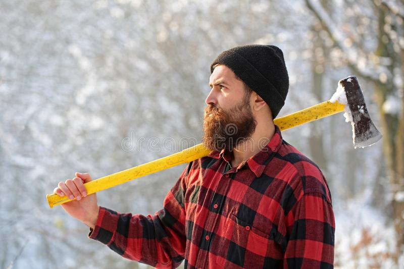 Skogsarbetare i träna med en yxa Skäggig man i hatt med en handyxa Stilig man, hipster Uppsökt brutalt för skogsarbetare arkivfoto