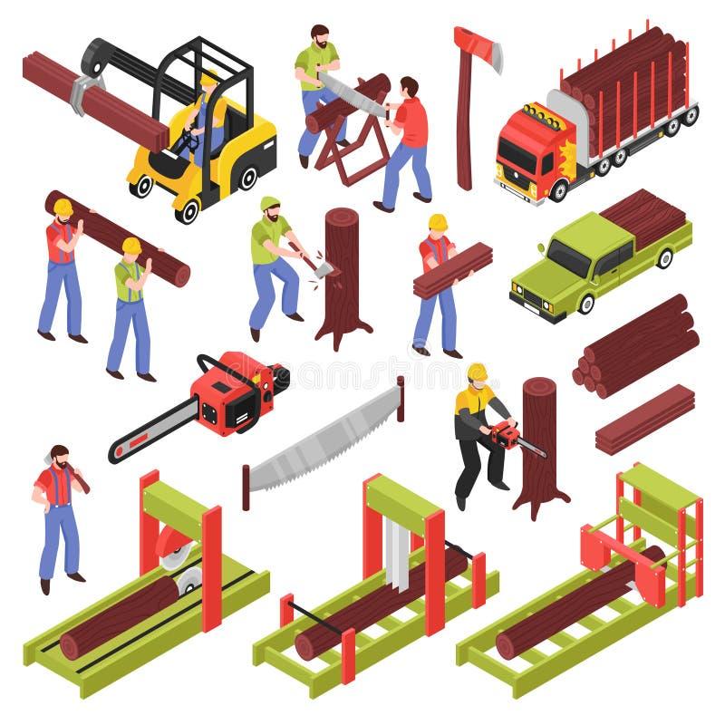 Skogsarbetare Isometric Icons Set stock illustrationer