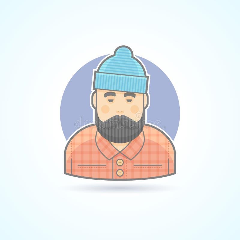 Skogsarbetare man med skägget, hipster, skogsarbetaresymbol Avatar- och personillustration royaltyfri illustrationer