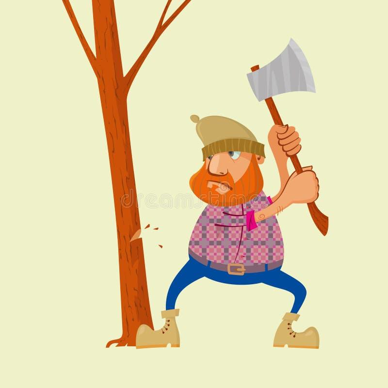 Skogsarbetare med yxa royaltyfri illustrationer