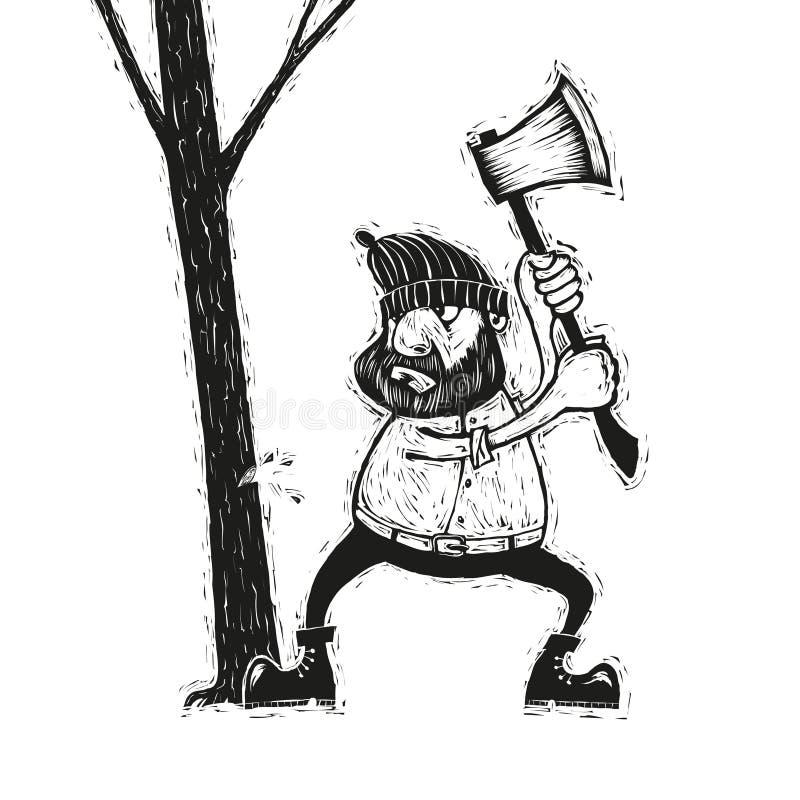 Skogsarbetare med yxa vektor illustrationer