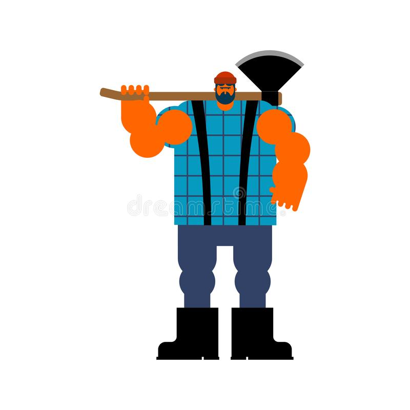 Skogsarbetare med yxa Skogshuggare med yxan vektor stock illustrationer