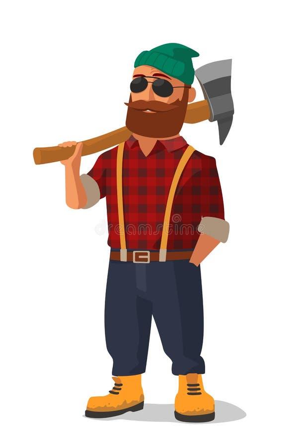 Skogsarbetare som rymmer en yxa över hans skuldra Gulingskor och röd plädskjorta stock illustrationer