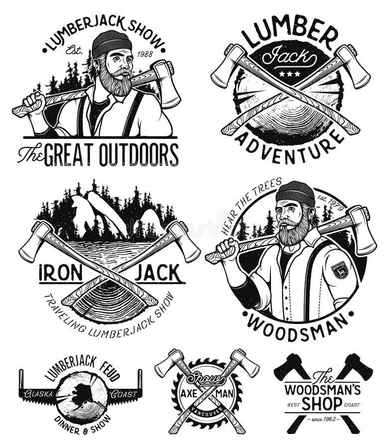 Skogsarbetare Template Logo vektor illustrationer