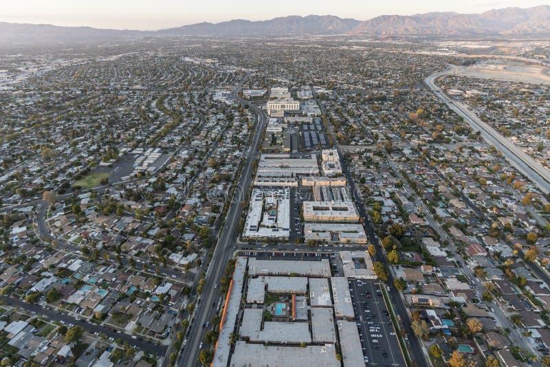 Skogsarbetareave för flyg- sikt och panoramastad i Los Angeles royaltyfria foton