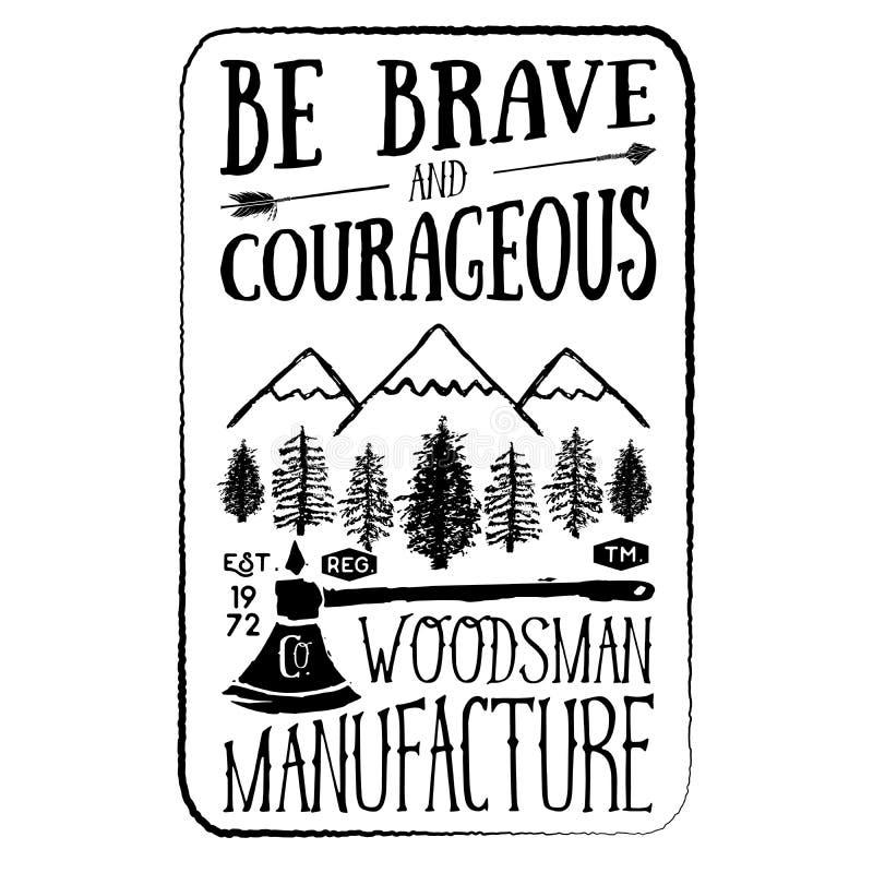 Skogsarbetaretappningetikett med yxan och träd Hand dragen texturerad grungetappningetikett, retro emblem eller T-tröjatypografid stock illustrationer