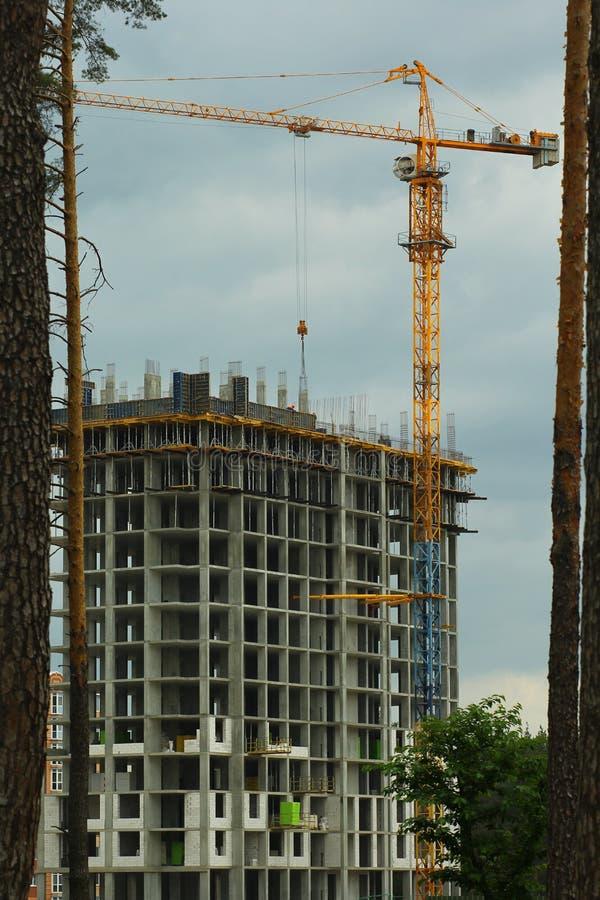 Skogsavverkningproblembegrepp Flervånings- hus som byggs i skogsmark arkivbild