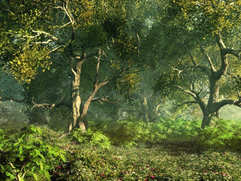 skogsbevuxen äng stock illustrationer