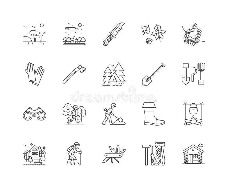 Skogsbruklinje symboler, tecken, vektoruppsättning, översiktsillustrationbegrepp vektor illustrationer