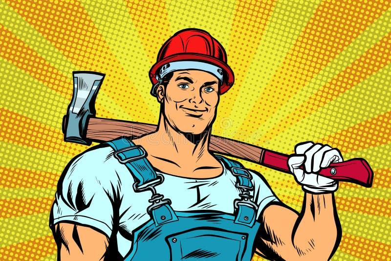 Skogshuggare för skogsarbetare för popkonst med yxan stock illustrationer