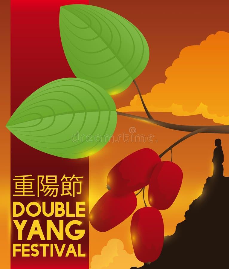 Skogskornell och man över bergkontur i dubbla Yang Festival, vektorillustration vektor illustrationer