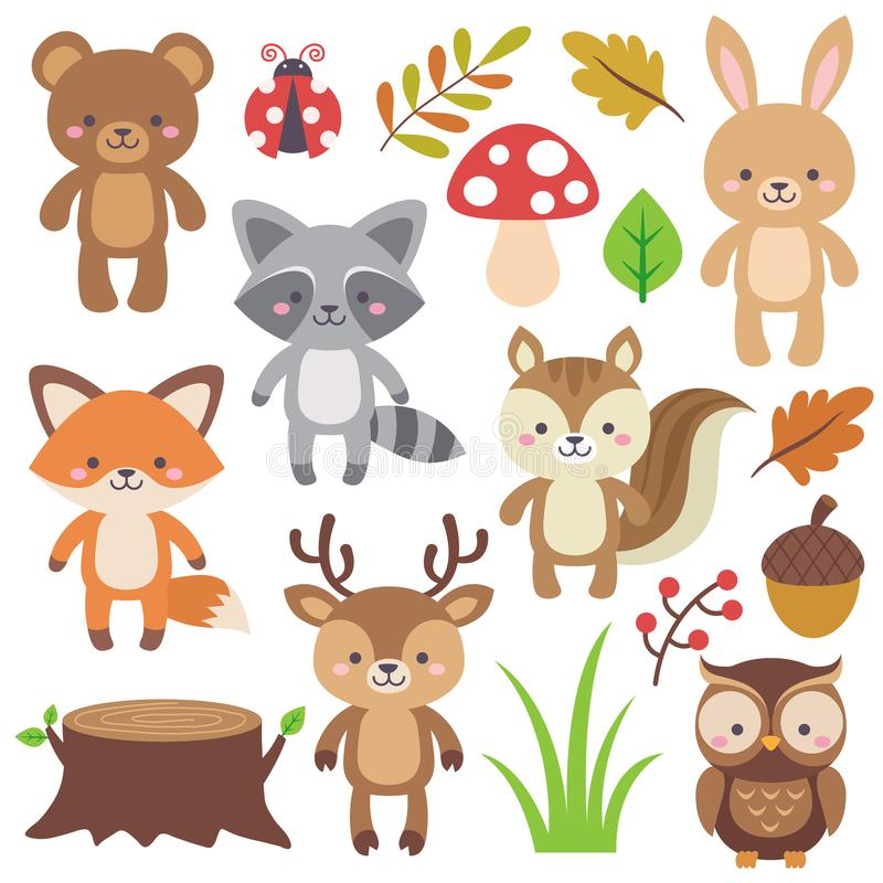Skogsmarkdjur stock illustrationer